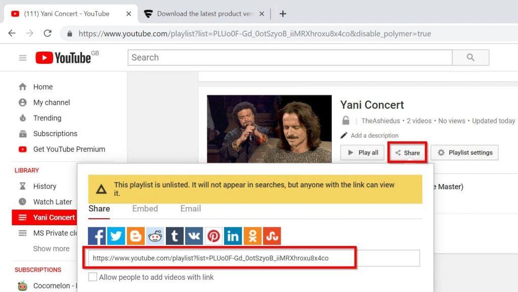 Share a YouTube Music Playlist - playlist shared